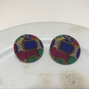 Jewelry - Vintage Boho Clip Colorful Fabric Earrings
